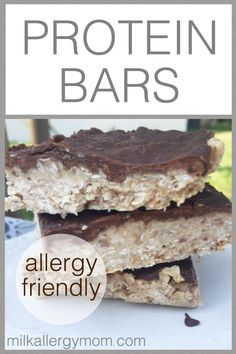 Dairy-free and allergy-friendly ingredients and recipe! No-bake easy at Milk Allergy Mom Dairy Free Protein Bars, No Bake Protein Bars, Dairy Free Snacks, Dairy Free Breakfasts, Protein Cake, Protein Powder Recipes, Protein Shake Recipes, Dairy Free Milk, Protein Muffins
