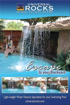 Universal Rocks swimming pool waterfall kits are a great way to get a professional looking waterfall with out the professional cost and mess. Order your swimming pool waterfall kit online today! Backyard Pool Landscaping, Backyard Pool Designs, Swimming Pools Backyard, Ponds Backyard, Swimming Pool Designs, Piscina Diy, Swimming Pool Waterfall, Stock Tank Pool, My Pool