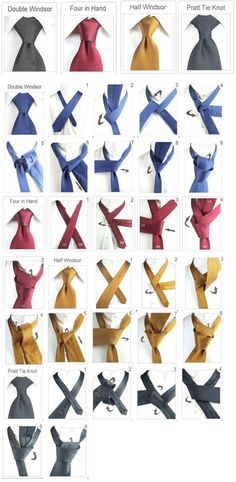 Men Clothing Tie ties types Men ClothingSource : Krawatte binden arten by alleideen Tie Knot Styles, Tie A Necktie, Tie A Tie, Style Masculin, Mode Masculine, Men Style Tips, Tie Knots, Men Looks, Mens Suits