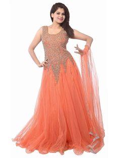 Women s Net Semi-Stitched Gown Dress Material  | eBay