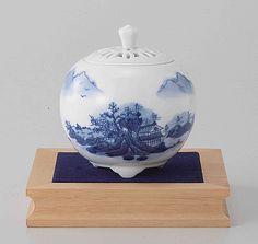 Tokyo Matcha Selection - Arita Porcelain Cencer : Landscape B - Incense Burner Holder w Base