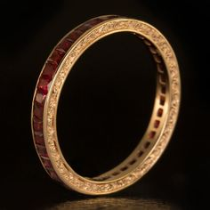Rose Gold Natural Ruby Eternity Wedding Band by IvyandRoseVintage - LOVE the filligree edges