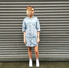 Raw edges and clean lines come together in this Denim dress by Boutique, crafted from a bleached rigid cut denim featuring collarless neck. #Topshop