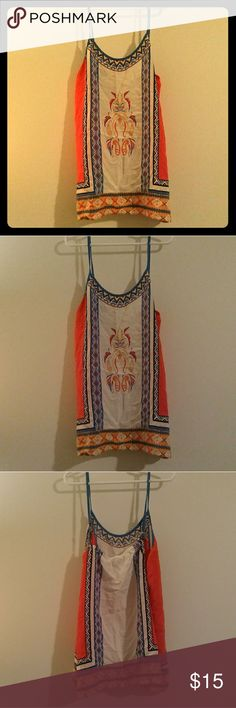 Tribal Tank Top Tribal native colorful orange and blue tank top. VERY CUTE!!! Perfect condition! I'm a size small and 5'4, tank goes past my hips. Fits size XS - M Sweet Wanderer Tops Tank Tops