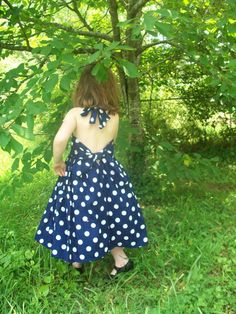 Navy Blue Polka Dot Twirly Girl Party Dress 2t-Size 6