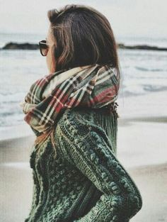 plaid scarf / cable knit sweater
