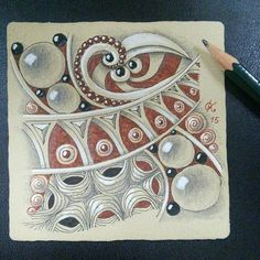 """Zentangle- interesting """"Trio"""" w beads, interesting lower left pattern ? beautifully shaded large beads"""