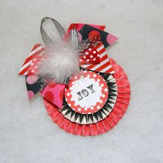 Red Pink and Black Polka Dot Stripes and Harlequin Christmas Ornament by shoplissy, $7.45