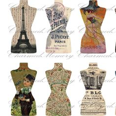 French Ephemera Dress Form Cut Outs(1) Digital Collage Sheet - For Tags - Buy 3 sheets and get 4th FREE - Printable Download. $3.50, via Etsy.