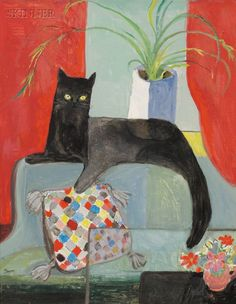 Dorothy Lake Gregory (American, 1893-1970)     Portrait of a Black Cat