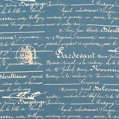 Penmanship Fabric, Blue Denim Script Fabric, Drapery/Upholstery/Pillow Fabric, French Stamp/Document Fabric, Home Decor Fabric. (1)Yard 36''