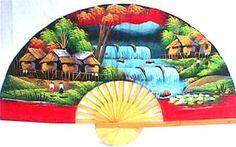 Red Village Wall Fan 12278  Price: $19.99 Ninja Gear, Large Fan, Wall Fans, Under Construction, Hand Fan, Hand Painted, Red, Design