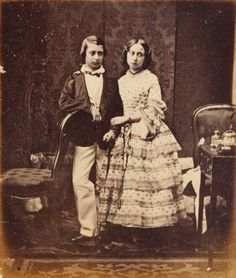"""Prince Albert Edward """"Bertie"""", later King Edward VII and his sister Alice, children of Queen Victoria"""