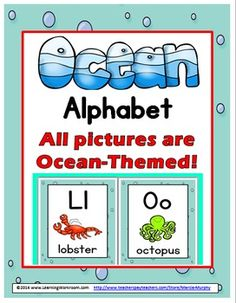Ocean Alphabet Posters A-Z with Primary Font and Ocean-Themed Graphics