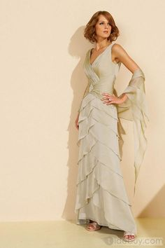Charming Tiered Pleats Crystal A-Line V-Neck Sweep/Brush-Train