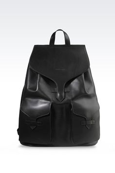 Emporio Armani Men Backpack - LEATHER BACKPACK WITH PATCH POCKETS Emporio Armani Official Online Store
