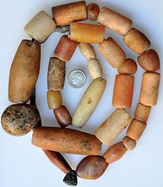 African Beads | Mixed large excavated stone beads | Date: 1200 - 1900