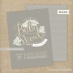 Baby's Breath Flowers Baby Shower Invitation by LingsDesignStudio