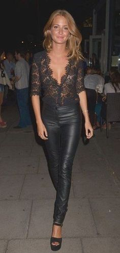 Black lace top, leather pants - chic New Year's Eve outfit idea