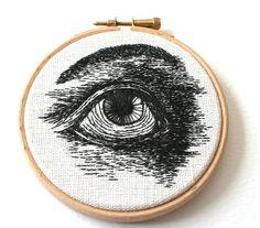 Bordado ojo Original cosida ilustración madera aro por SamPGibson