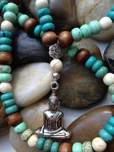 108 Mala Beads. Off White and Blue Turquoise, Brown Wood necklace with Buddha charm on Etsy, $42.00
