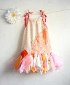 Toddler Fairy Dress 4T Shabby Chic Children's Clothing Pink Floral Print Peach Sundress Flower Girl Party Dress Kid's Clothes 'LAUREL'. $68.00, via Etsy.