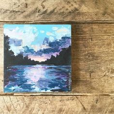 The Tuckasegee at sunset DIY canvas painting by MichaelsMakers Lil Blue Boo