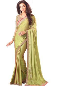 #Green #Two Tone #Chiffon #Party Wear #Saree #nikvik  #usa #designer #australia #canada #freeshipping #saris