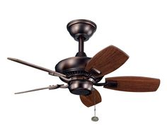 With an oil brushed bronze finish, this fan is a wonderful addition to the kichler canfield collection. The 5, 30 blades are pitched 24 degrees and are reversible with walnut and cherry finishes. The 153mm x 17mm motor will provide the quiet power you need. This fan comes complete with a pull chain and 1 6 inch downrod. It is low ceiling adaptable with the flush mount kit included. This fan is indoor/outdoor cul listed for damp locations.