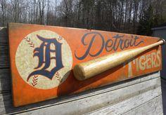 Original # Detroit Tigers  sign  by   ZekesAntiqueSigns@etsy