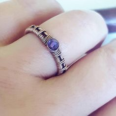 Simple stackable wire wrapped ring with natural amethyst. This ring is entirely handcrafted, woven by hand with copper wire. This unique copper gemstone ring can. Wire Jewelry Rings, Copper Wire Jewelry, Wire Jewelry Designs, Handmade Wire Jewelry, Copper Rings, Handmade Rings, Jewelry Ideas, Fine Jewelry, Handmade Copper