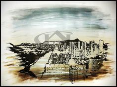 Honolulu | Original artwork | Fine-liner & acrylic paint on fabriano paper