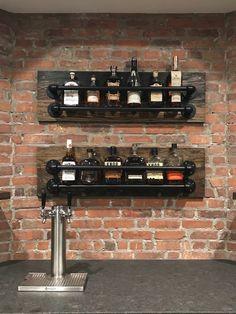 Bar wall shelf with living edge wood and galvanized steel tube.Bar wall shelf with living edge wood and galvanized steel tube. Wine Rack Shelf, Wine Rack Wall, Bar Shelves, Rustic Shelves, Hanging Shelves, Floating Shelves, Liquor Shelves, Diy Home Bar, Bars For Home