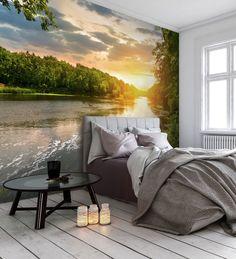 bedroom sunset wall murals landscape relaxing lake mural scenic walls uploaded user