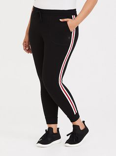 145794c77f516 Plus Size Black Stripe French Terry Active Pant