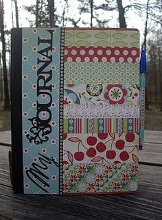 Sweet journal for a girl! Use scrapbook scraps or fabric scraps (teacher's gift)