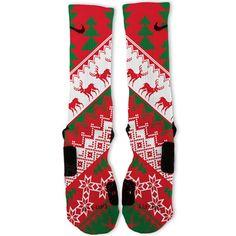 Christmas Sweater Red Customized Nike Elite Socks