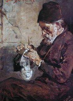 Painting of man knitting