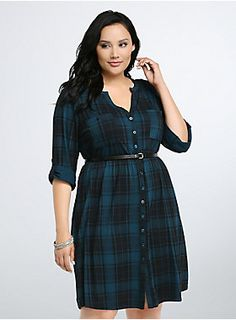 """<p>This stretchy-soft, cozy-enough-to-wear-everyday, teal and black plaid slub knit shirt dress is set for fall. The tee-like bodice complements the gathered waist and easy, open skirt. A button front, breast pockets, and black faux leather belt lend structure.</p>  <p></p>  <p><b>Model is 5'10"""", size 1</b></p>  <ul> <li>Size 1 measures 38 1/4"""" from shoulder</li> <li>Polyester/rayon/spandex</li> <li>Wash cold, dry flat</li> <li>Imported plus size dress</li> </ul>"""