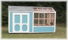 This site sells these, but I like the idea of a double door shed attached to my greenhouse.