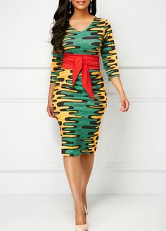 Fashion Women Abstract Print Dress Printed Three Quarter Sleeve V Neck Belted Dress Dresses For Sale, Dresses Online, Dresses For Work, Church Dresses, Dress Sale, African Wear, African Fashion, African Style, African Women