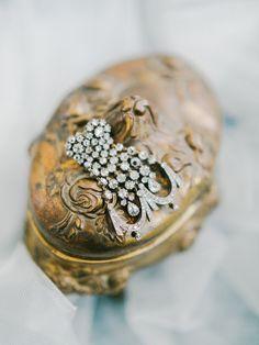 Vintage earrings fit for a Princess. Photo @rachelmay | Styling @Amoreeventco | Dress @Watterswtoo | Flowers @floraldesignva | Calligraphy @poppyandscooter | Venue @keswickhall | Breckenridge Carriage | Model Nina Ninka Baprawska | Daniel's Doves | Cake by Maliha Creations | Glassware & Linens by Festive Fare Charlottesville | Plates, Chargers, Flatware by Arte Italica | HMUA @lorakelleymua | Headpiece & Veil @mignonne | Coordination @jconlogue | Shoes Christian Louboutin