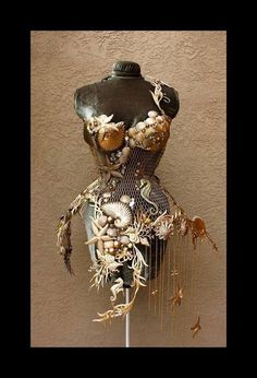 """""""The Birth of NOLEMIRE THE MERMAID """" Steel Corset by http://www.lafioricouture.com/ One of a kind gold brushed steel corset embellished with Glass Beads and Swarovski Crystals. www.lafioricouture.com"""