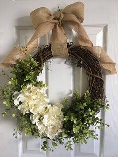 Beautiful Boxwood Wreath, Wreath with Greenery, Front Door Decor, Boxwood Wreath, Hydrangea Wreath, Greenery Wreath, Door Wreaths, Grapevine Wreath, Green Hydrangea, Wreath Crafts, Diy Wreath, Wreath Ideas
