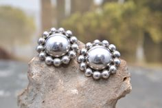 Big Signed Vintage Sterling Silver TAXCO Mexico Clip On Hollow Dome Earrings by MiscELENAeous on Etsy https://www.etsy.com/listing/279949588/big-signed-vintage-sterling-silver-taxco