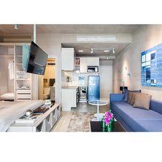 Bom dia com o apê de muita personalidade by @suite_arquitetos  Ahhh, queria que lá em casa fosse assim! #ahlaemcasa #funcionalidade #beleza #apêpequeno #cimentoqueimado #apêmoderninho #loft