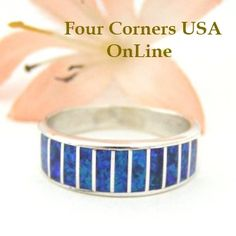 Four Corners USA Online - Size 7 Dark Blue Fire Opal Inlay Band Ring Native American Ella Cowboy Silver Jewelry WB-1445, $125.00 (http://stores.fourcornersusaonline.com/size-7-dark-blue-fire-opal-inlay-band-ring-native-american-ella-cowboy-silver-jewelry-wb-1445/)