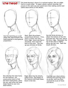 Figure Drawing Tutorial - How to Draw a Face : Here's a simple way to place the features accurately when drawing a head. First draw a vertical line down the middle of the face. Then draw a horizontal line halfway Drawing Skills, Drawing Lessons, Drawing Techniques, Drawing Sketches, Art Drawings, Pencil Drawings, Wolf Drawings, Body Sketches, Step By Step Drawing