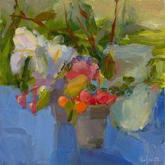 Christine Lafuente, White Irises on a Blue Cloth, oil on linen, 12 x 12 inches Still Life Art, Arte Floral, Art Themes, Flower Art, Life Flower, Art Google, Painting Inspiration, Art Lessons, Cool Art