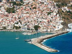 Want to escape the touristy Greek isles of Santorini and Mykonos? Head east of mainland Greece to the island of Skopelos. Often referred to as the greenest island in the Aegean Sea, this lush. Skopelos Greece, Mykonos Greece, Crete Greece, Athens Greece, Mamma Mia, Santorini, Places To Travel, Places To See, Places Around The World
